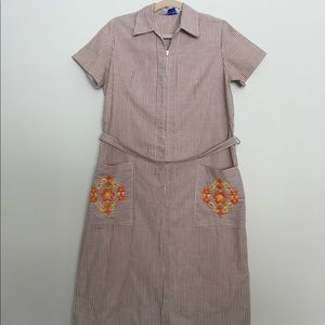 1950's Brown striped Housedress